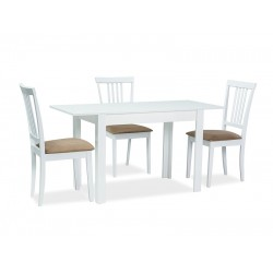 ALBERT étkezőasztal, 100/140*60*75 cm - fehér