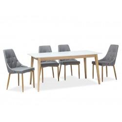 CESAR étkezőasztal, 120/165*68*75 cm - tölgy/fehér
