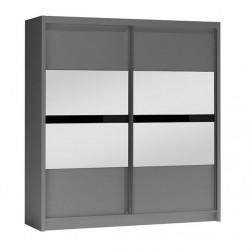 BATUMI tükrös tolóajtós gardrób, 203*61*215 cm - grafit