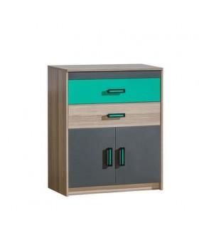 Timo U6 2 ajtós+2 fiókos komód, 80x39x95 cm - zöld/sötét coimbra kőris