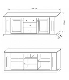 LIONA LM46 2 ajtós+4 fiókos komód, 196*45*83 cm
