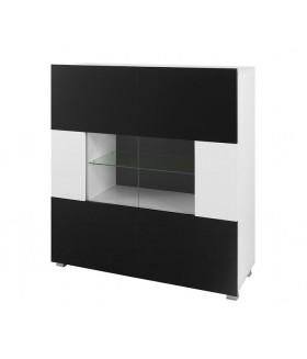 Gordia K2D komód, 100x35x107 cm - fehér/fekete