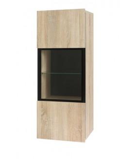 Gordia WISZ fali vitrin, 45x32x117 cm - sonoma/fekete