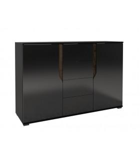 LANCO LN-01 2 ajtós+4 fiókos komód, 135*40*90 cm - fekete/fényes fekete/kolostor tölgy