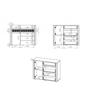 Arko 07 1 ajtós+4 fiókos komód, 119*42*94 cm
