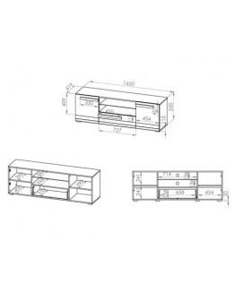 Blanco 09 TV szekrény, 165x42x55 cm