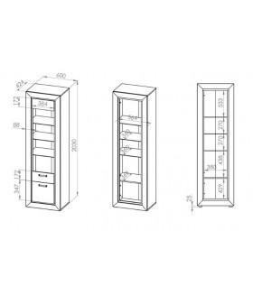 Mocca 03 vitrin, 60x43x203 cm