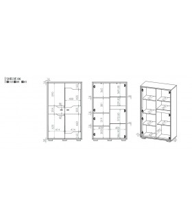 Shelve 06 alacsony vitrin, 89x41x151 cm
