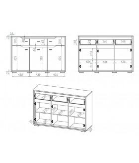 Shelve 08 3 ajtós+3 fiókos komód, 138x41x92 cm