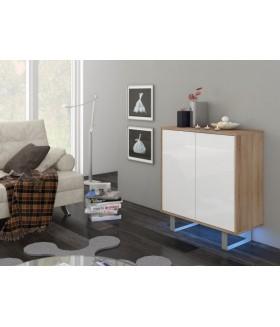 King 1. nappali bútor - világos sonoma/fényes fehér