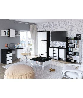 Nordis 3. nappali bútor - fekete/fehér