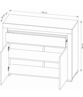 ARIZONA RRK-1 3 ajtós+3 fiókos komód, 152*38,9*83,7 cm