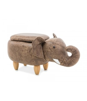 Sebastian elefánt puff tárolóval, 72x34x37 cm - barna
