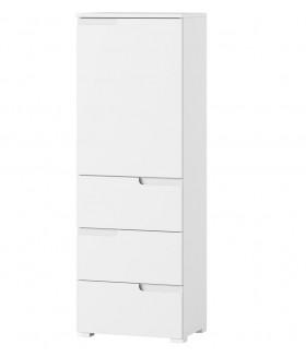 Selene 11 1 ajtós+3 fiókos komód, 50*35*145 cm - fehér