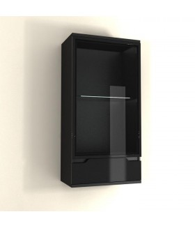 Adonis AS08 fali vitrin LED világítással, 60x35x119 cm - fekete