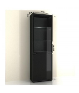 Adonis AS10 vitrin LED világítással, 60*35*188 cm - fekete