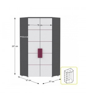 Lobete 89 sarok szekrény, 97x97x197 cm