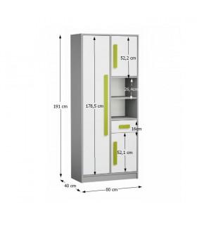 Piere P03 szekrény, 80x40x191 cm - zöld
