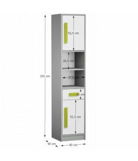 Piere P04 szekrény, 40x40x191 cm - zöld