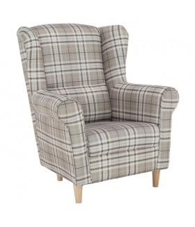 CHARLOT fotel, 86*72*105 cm - Barna kockás