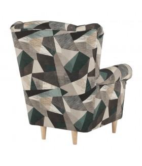 CHARLOT fotel, 86*72*105 cm - Holm barna/zöld