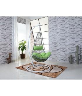 Dorina függő fotel, 80x72x124 cm - szürke/zöld