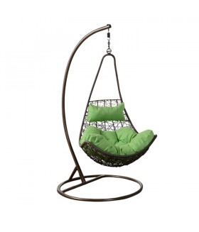 Kalea függő fotel, 80*72*134 cm - barna/zöld