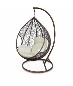 Noela függő fotel, 115x72x105 cm - barna/krém