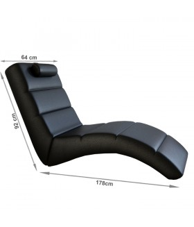 LONG pihenő fotel, 178*64*92 cm - fekete